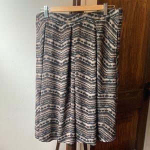Lularoe Brown/Black/Tan Madison Box Pleat Skirt